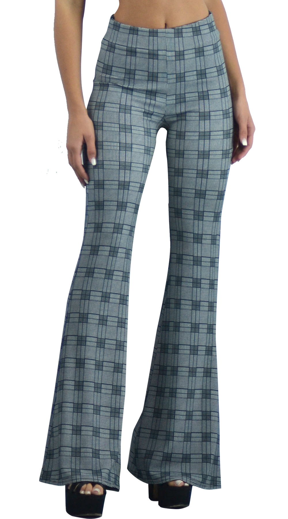 Γυναικείο παντελόνι καμπάνα καρό ψηλόμεσο back to 70s Online - ONLINE - FA17ON-3 ενδύματα office look
