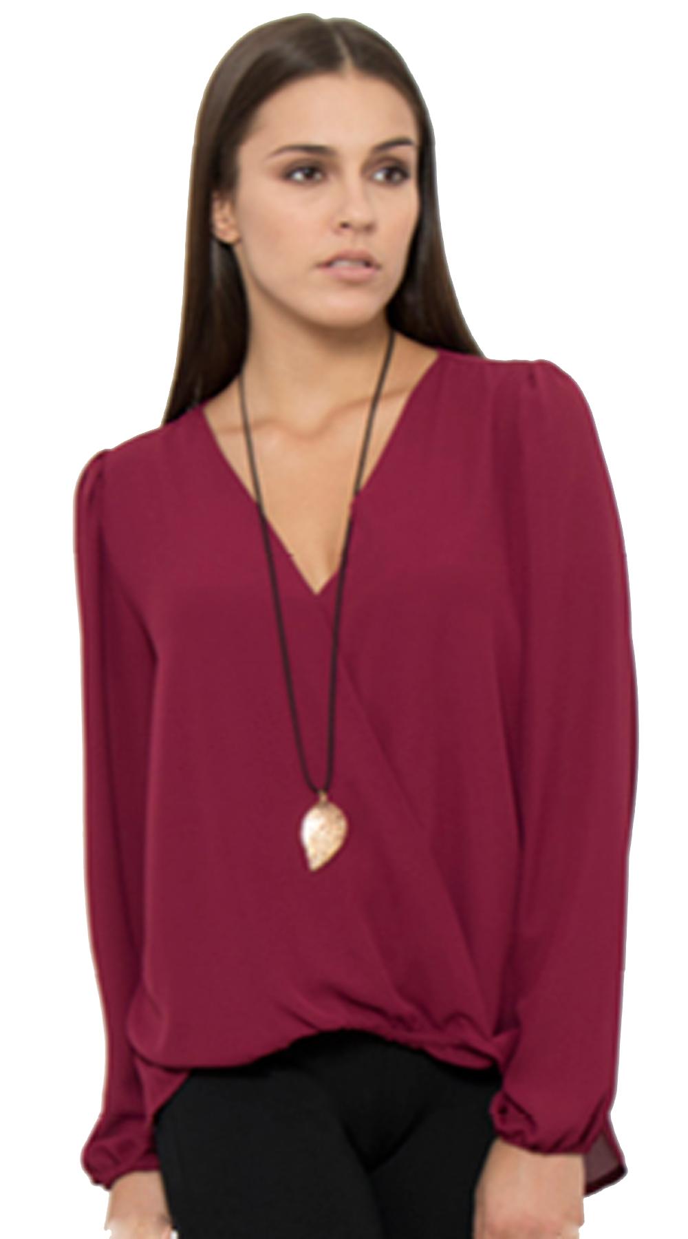 Γυναικεία μονόχρωμη κρουαζέ μπλούζα Curvy με μινιμαλ κολιέ - OEM - FA17OP-C-1720 μπλούζες   t shirts elegant tops