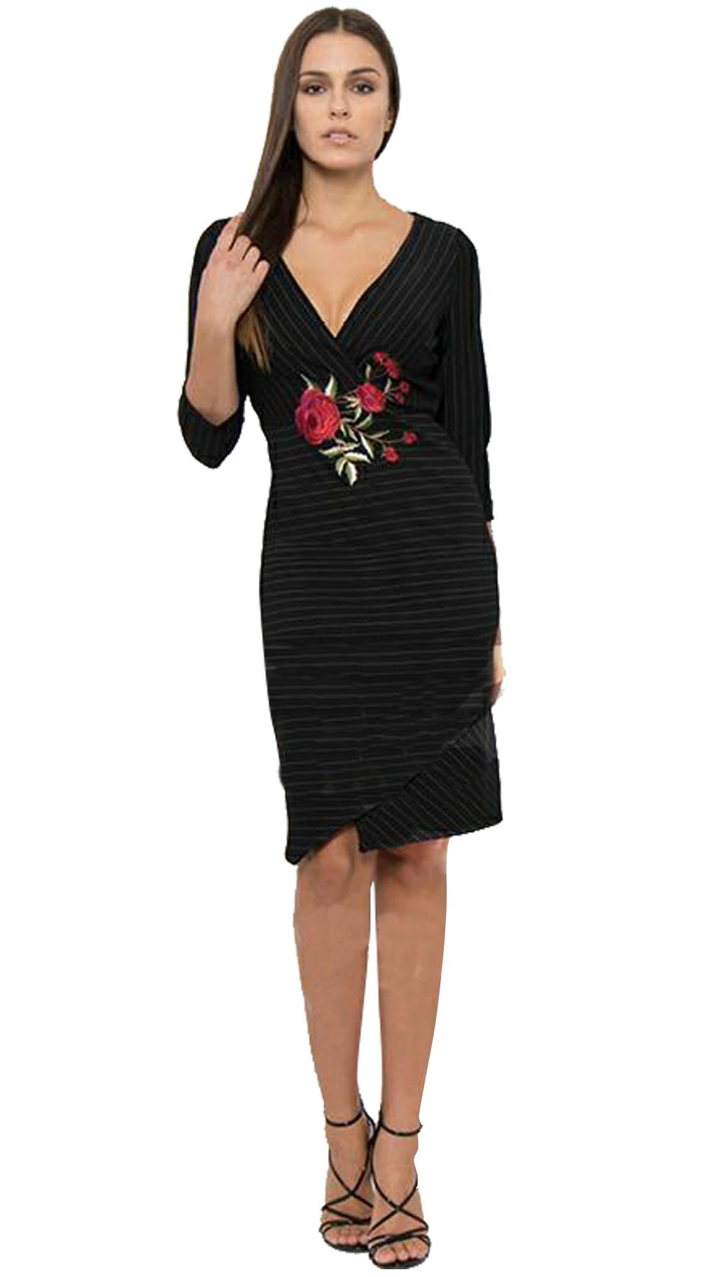 Μίντι κρουαζέ φόρεμα Curvy με ρίγες και κεντημένα λουλούδια - OEM - FA17OP-C-562 curvy φορέματα