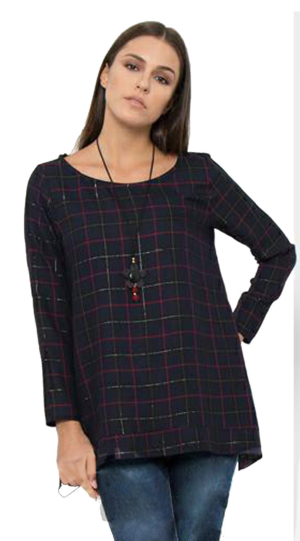 Γυναικεία μπλούζα Curvy καρό με κολιέ - Greek Brands - FA17OP-C-1755 μπλούζες   t shirts elegant tops
