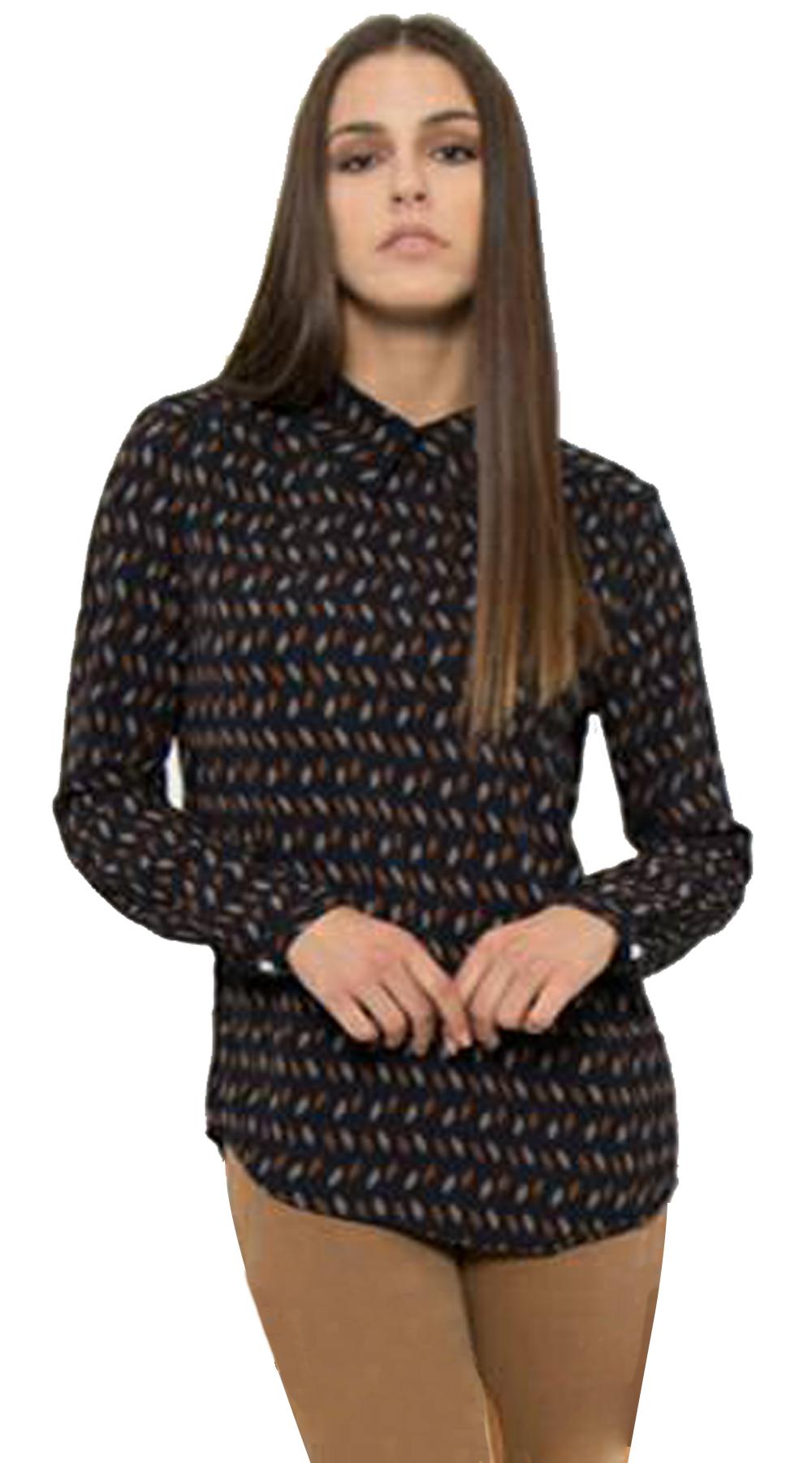 Γυναικεία μπλούζα Curvy εμπριμέ με γιακά - OEM - FA17OP-C-1748 ενδύματα office look