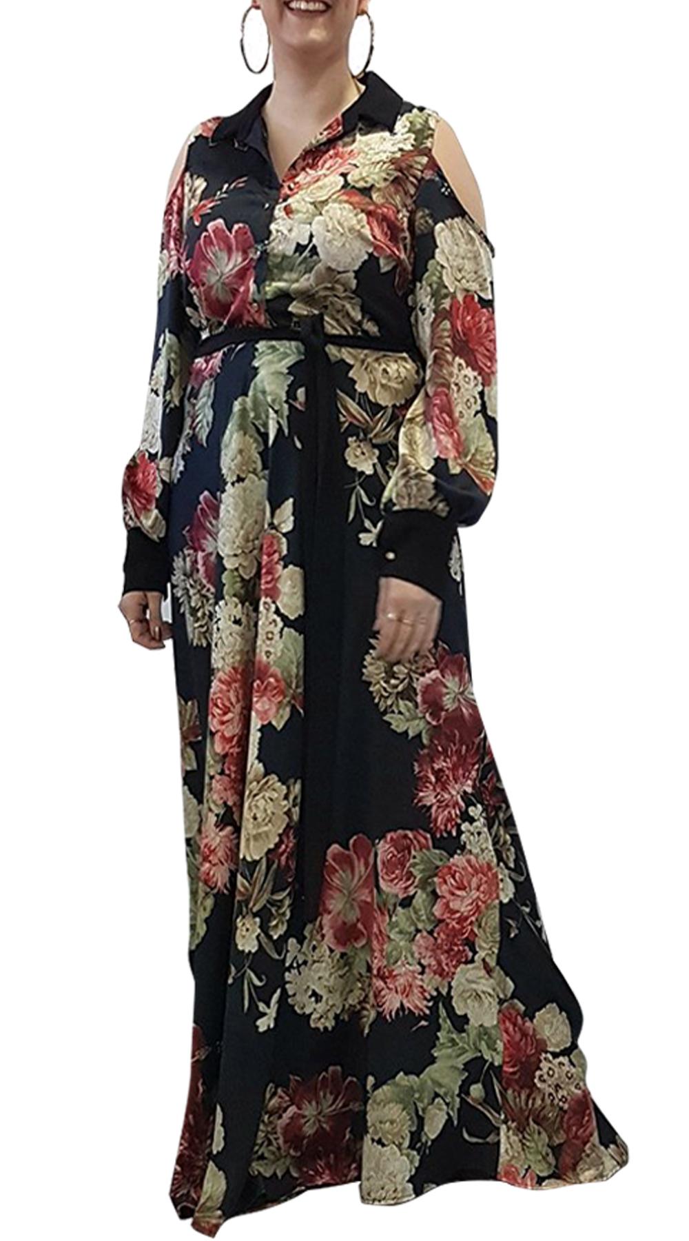 Μάξι φόρεμα φλοράλ Curvy με cut out ώμους και ζώνη - OEM - FA17OP-C-5634 φορέματα φλοράλ φορέματα
