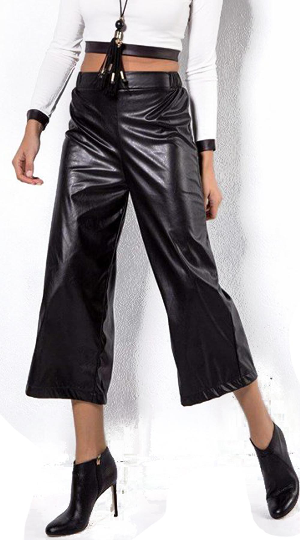 Γυναικεία ζιπ κιλότ vinyl look - OEM - FW17CM-32058 ενδύματα κολάν   παντελόνια