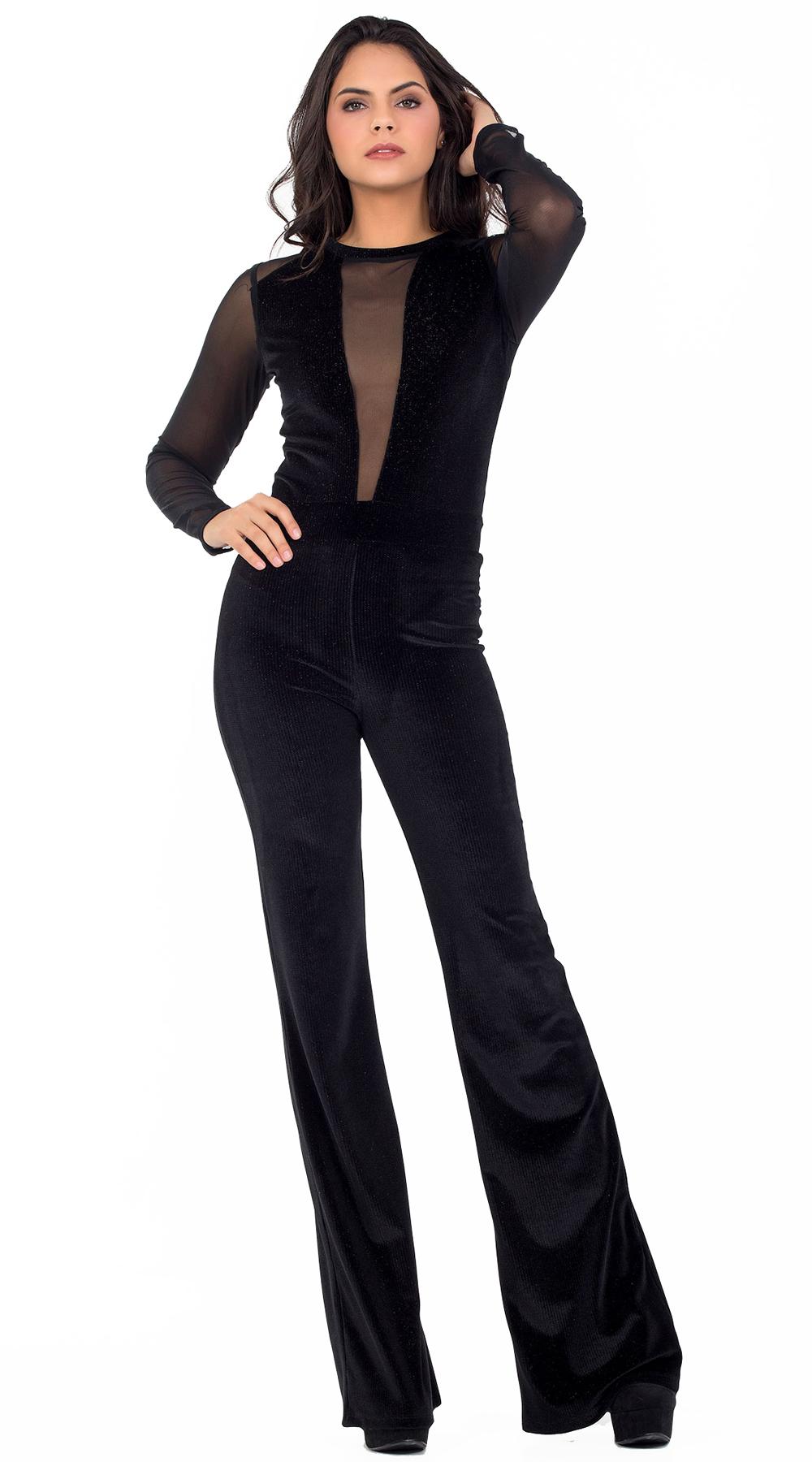 Γυναικεία βελούδινη ολόσωμη φόρμα με διαφάνεια Online - OEM - W18ON-22540 top trends glam occassions