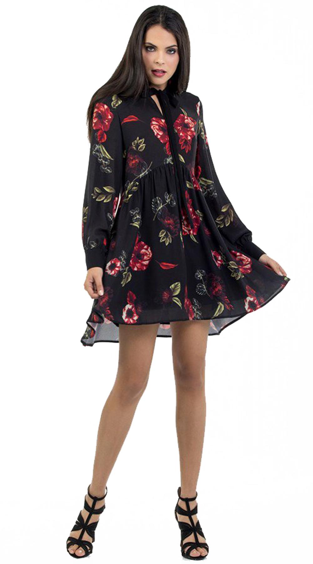 Μίνι φλοράλ φόρεμα dark rose με δέσιμο στο λαιμό Online - ONLINE - W18ON-56115