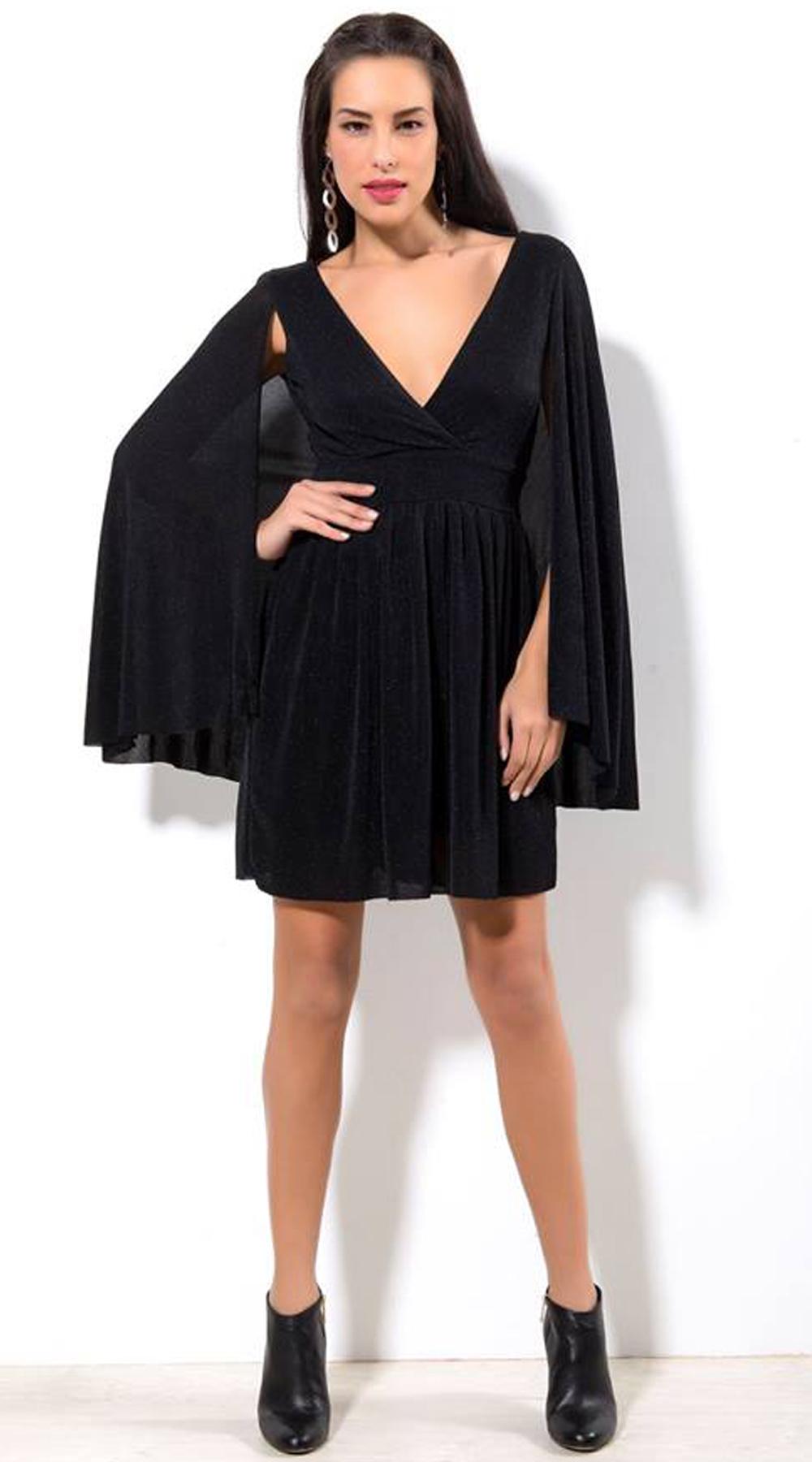 Φόρεμα μίνι κρεπ με μανίκια κάπα - OEM - W18CM-14035 φορέματα μίνι φορέματα