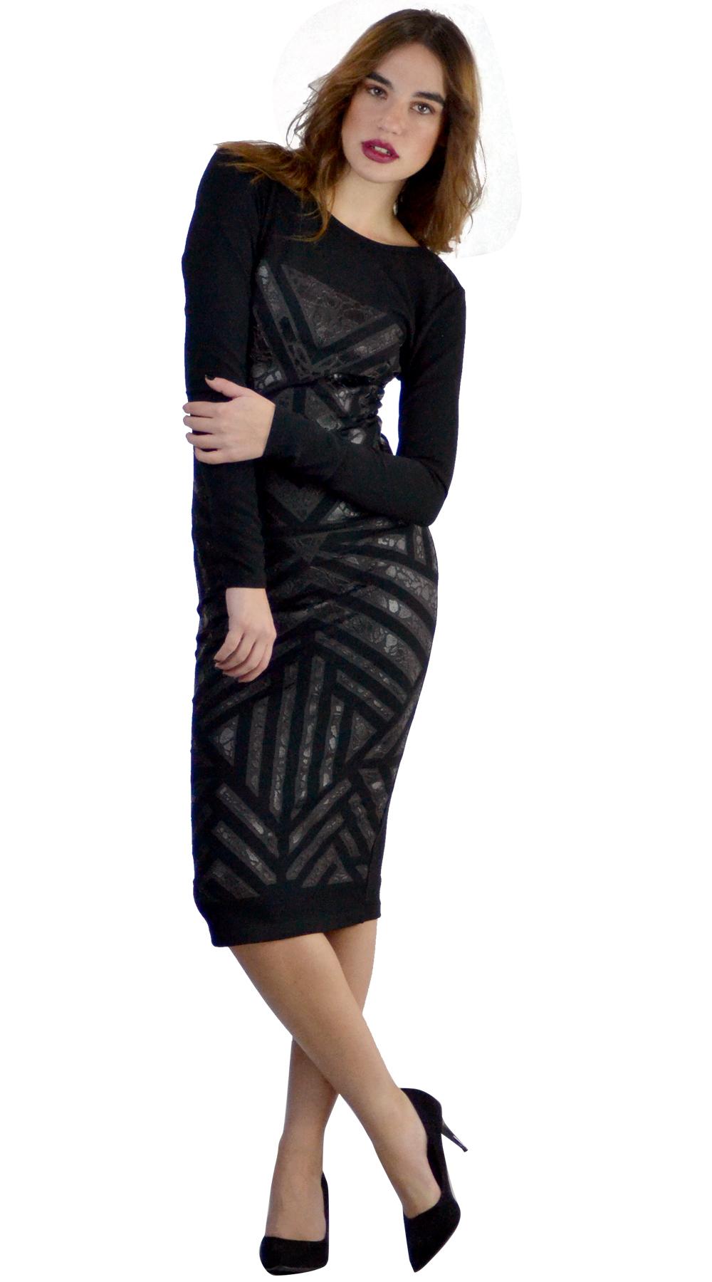 Μίντι φόρεμα με γεωμετρικά σχέδια Glitter Velvet Online - ONLINE - W18ON-54191 φορέματα βραδυνά φορέματα