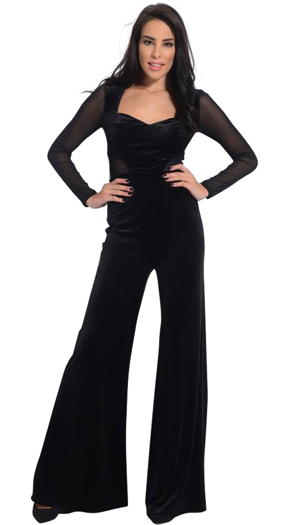 b74a4be5bf70 Woman s velvet flared jumpsuit