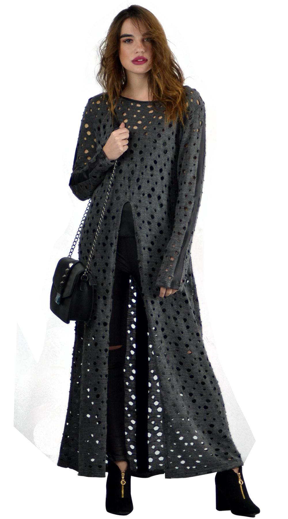 Γυναικεία μακριά μπλούζα τρυπητή Online - ONLINE - W18ON-11544 μπλούζες   t shirts elegant tops