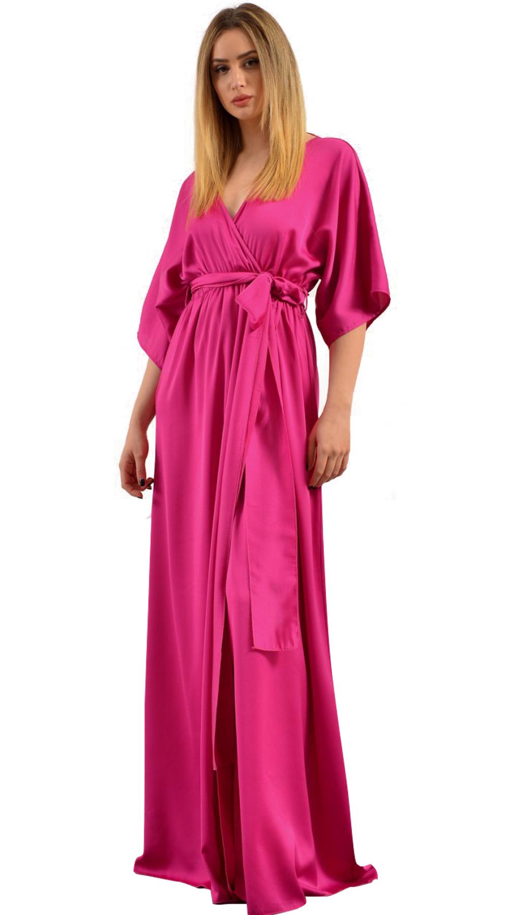 Μάξι φόρεμα Satin Robe με σκίσιμο μπροστά Limited Collection - LOVE ME - SP18LV- glam occassions wedding shop