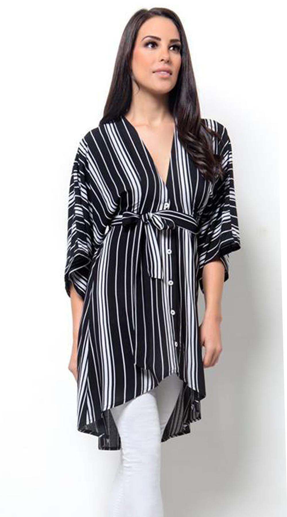 Γυναικεία ριγέ πουκαμίσα με ζώνη - Greek Brands - SP18CM-19009 μπλούζες   t shirts elegant tops