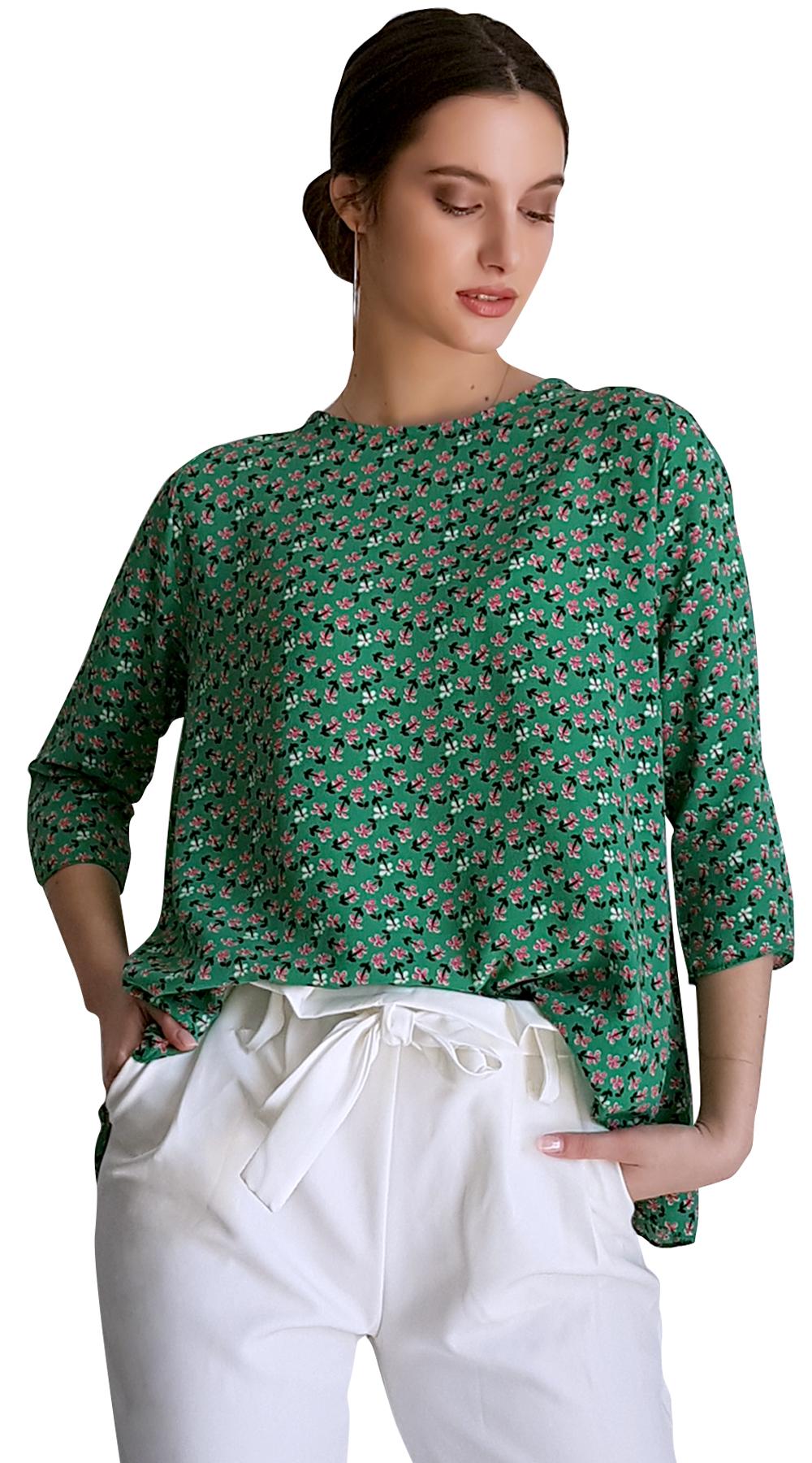 697f92510950 Γυναικεία μπλούζα girly floral με δέσιμο στην πλάτη