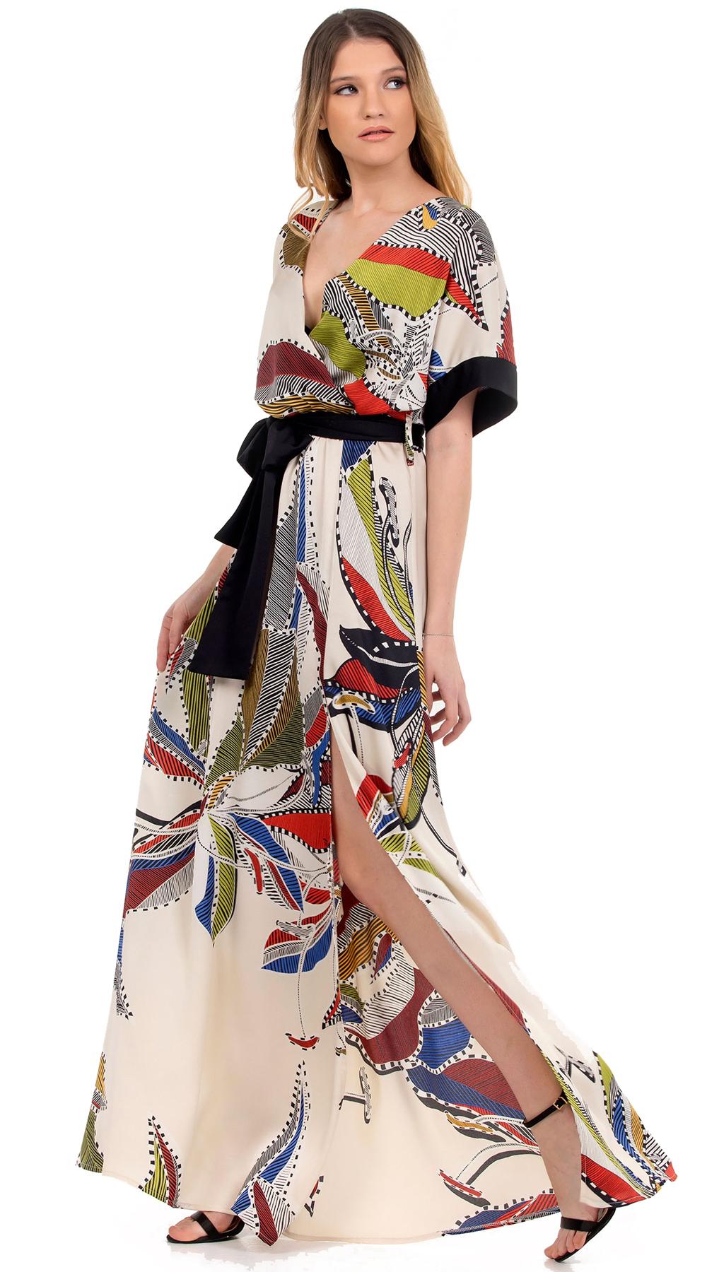 Μάξι κρουαζέ φόρεμα με πολύχρωμα έθνικ prints Online - ONLINE - SP18ON-59001 glam occassions wedding shop