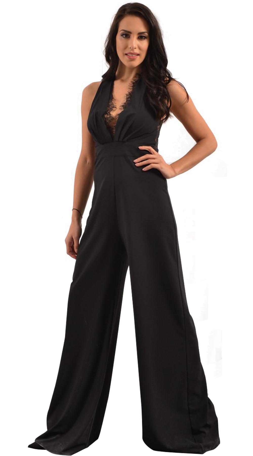 Γυναικεία μαύρη ολόσωμη φόρμα με δαντελα και ανοιχτή πλάτη - LOVE ME - SP18LV-23