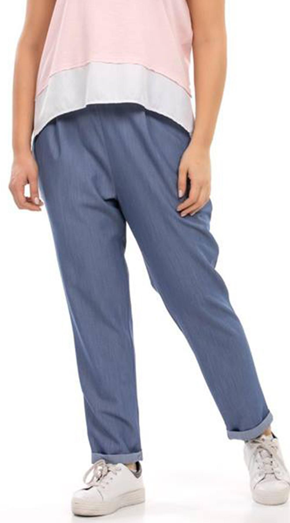 Γυναικείο παντελόνι με ρεβέρ και τσέπες - Curvy - Greek Brands - SP18CM-C-39004 ενδύματα παντελόνια   κολάν
