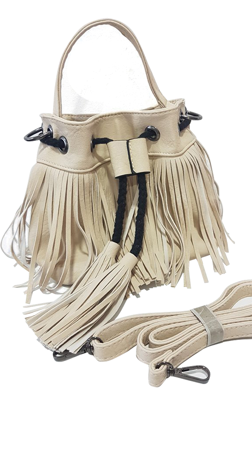 7410325294 Γυναικεία τσάντα πουγκί boho με κρόσσια