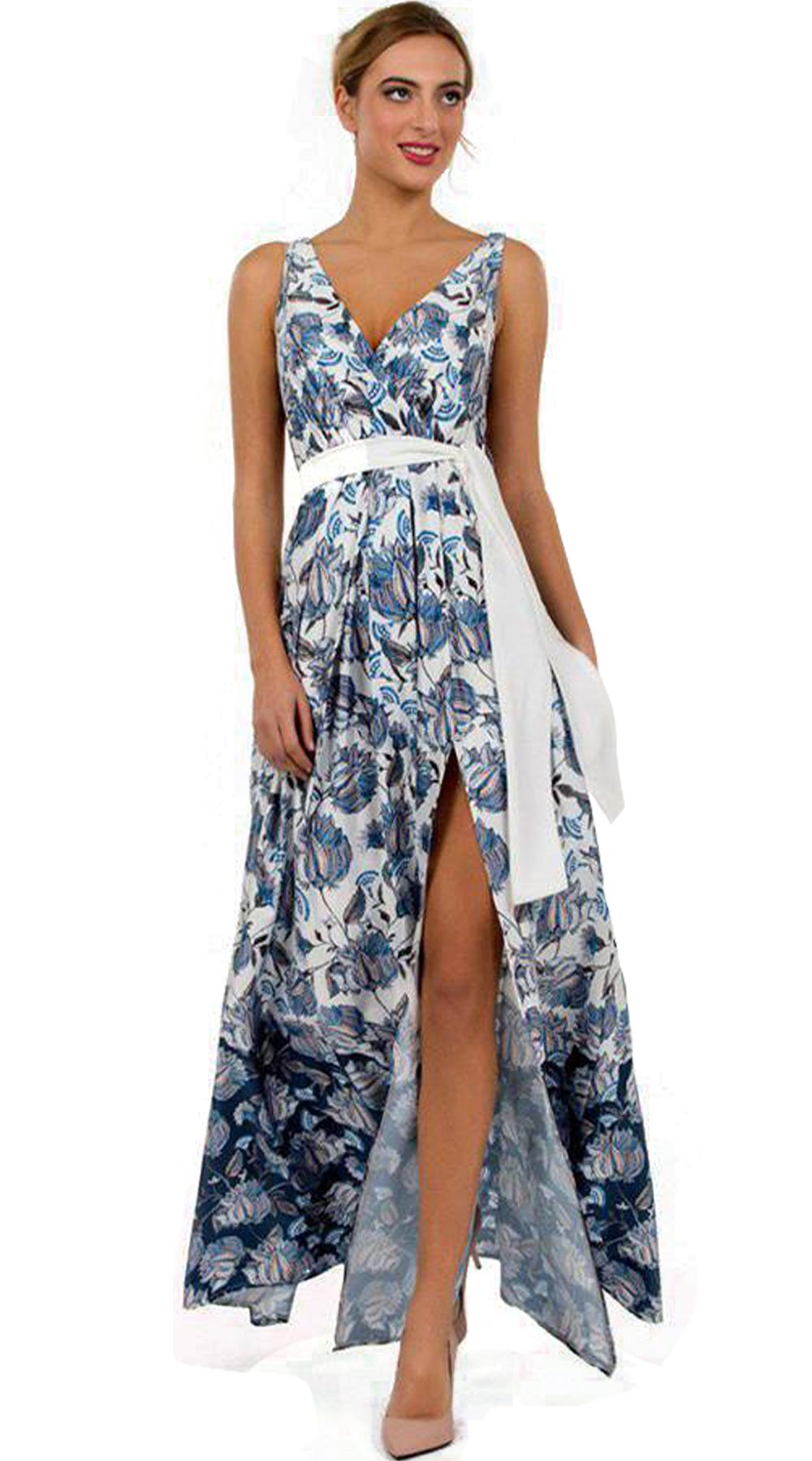 Μάξι φόρεμα με σκίσιμο και ζώνη Sea Pattern - ONLINE - SP18ON-56086 glam occassions wedding shop