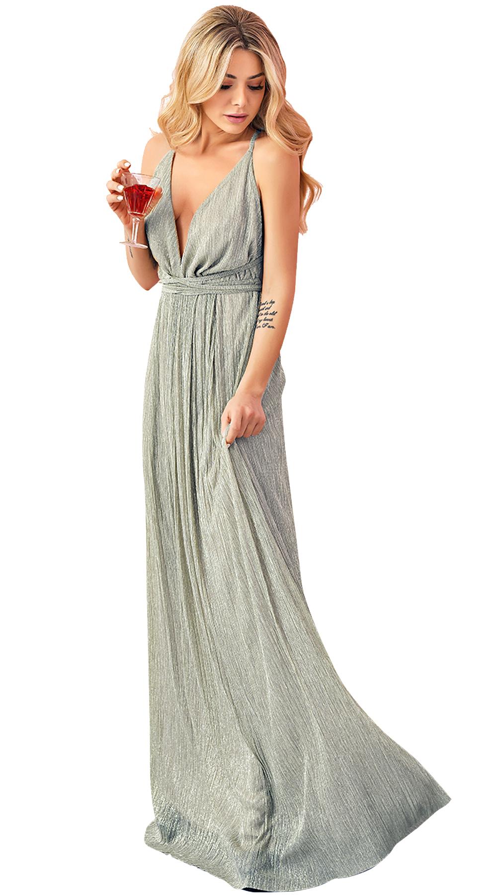 Μάξι χρυσό φόρεμα με χιαστί πλάτη Online - ONLINE - SP18ON-53511 glam occassions wedding shop