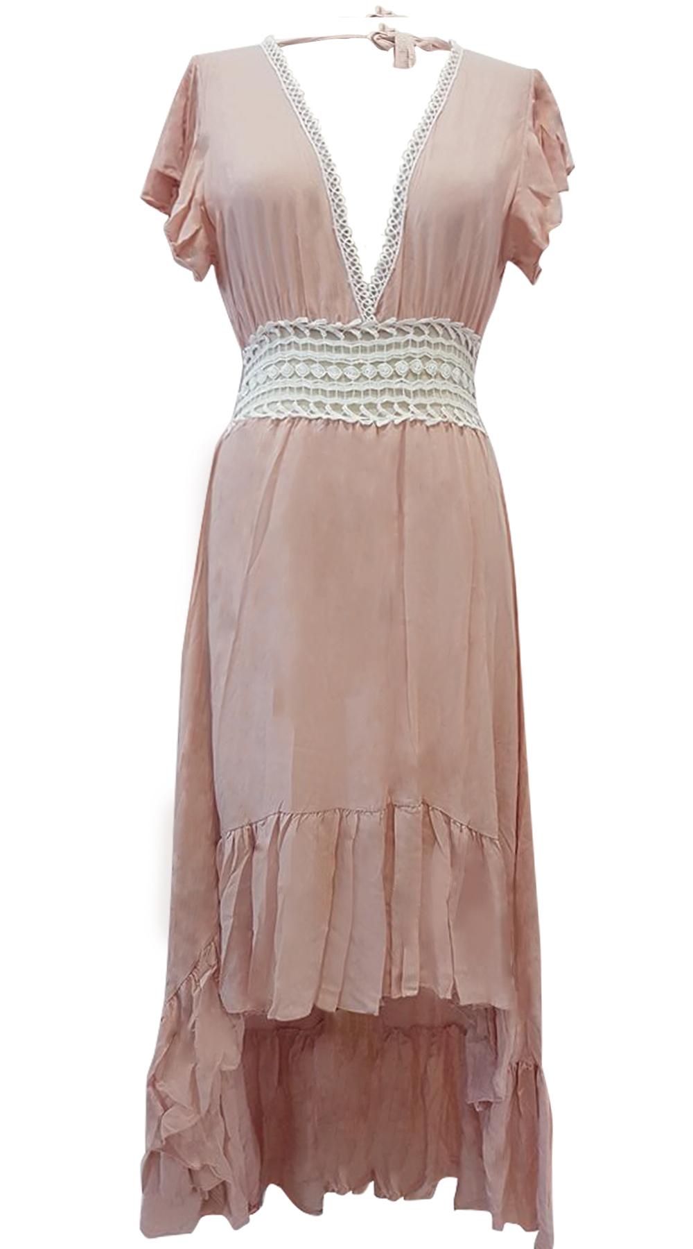 Boho φόρεμα με ασσύμετρο τελείωμα και δαντέλα στην μέση - MissReina - S18GAL-521 φορέματα μάξι φορέματα