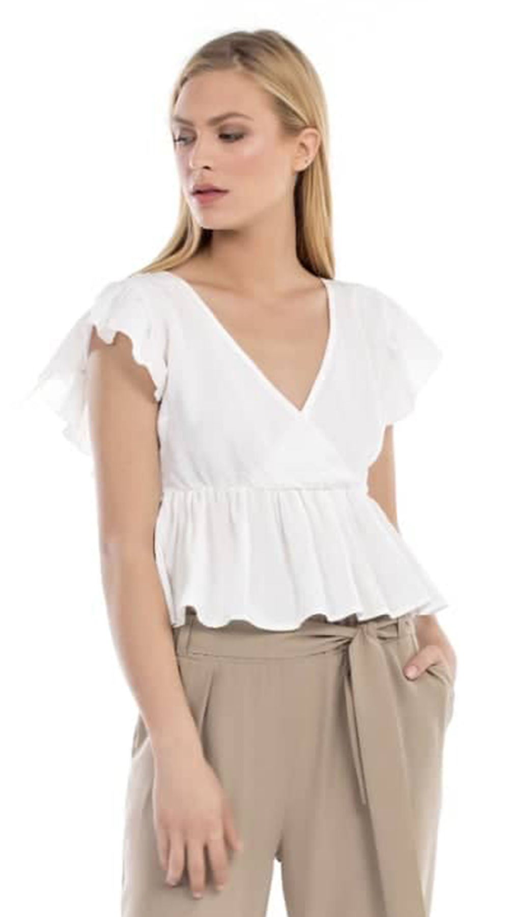 Peplum μπλούζα με ανοιχτή πλάτη Online - ONLINE - S18ON-12643 μπλούζες   t shirts elegant tops