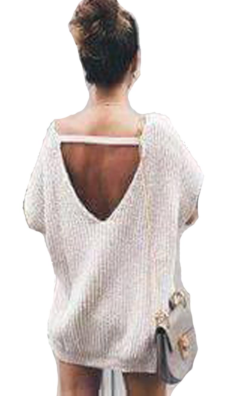 Γυναικεία Oversized Μπλούζα Πλεκτή με Ανοιχτή Πλάτη  952ab46a6a0