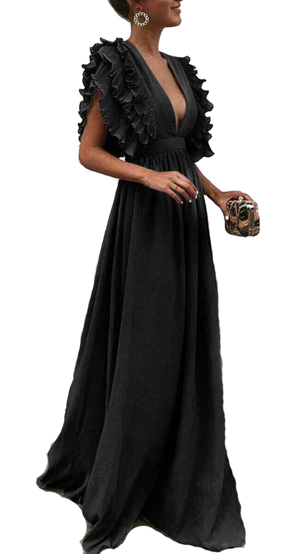 1fd0ab876e8d Μάξι φόρεμα με Βολάν στα μανίκια