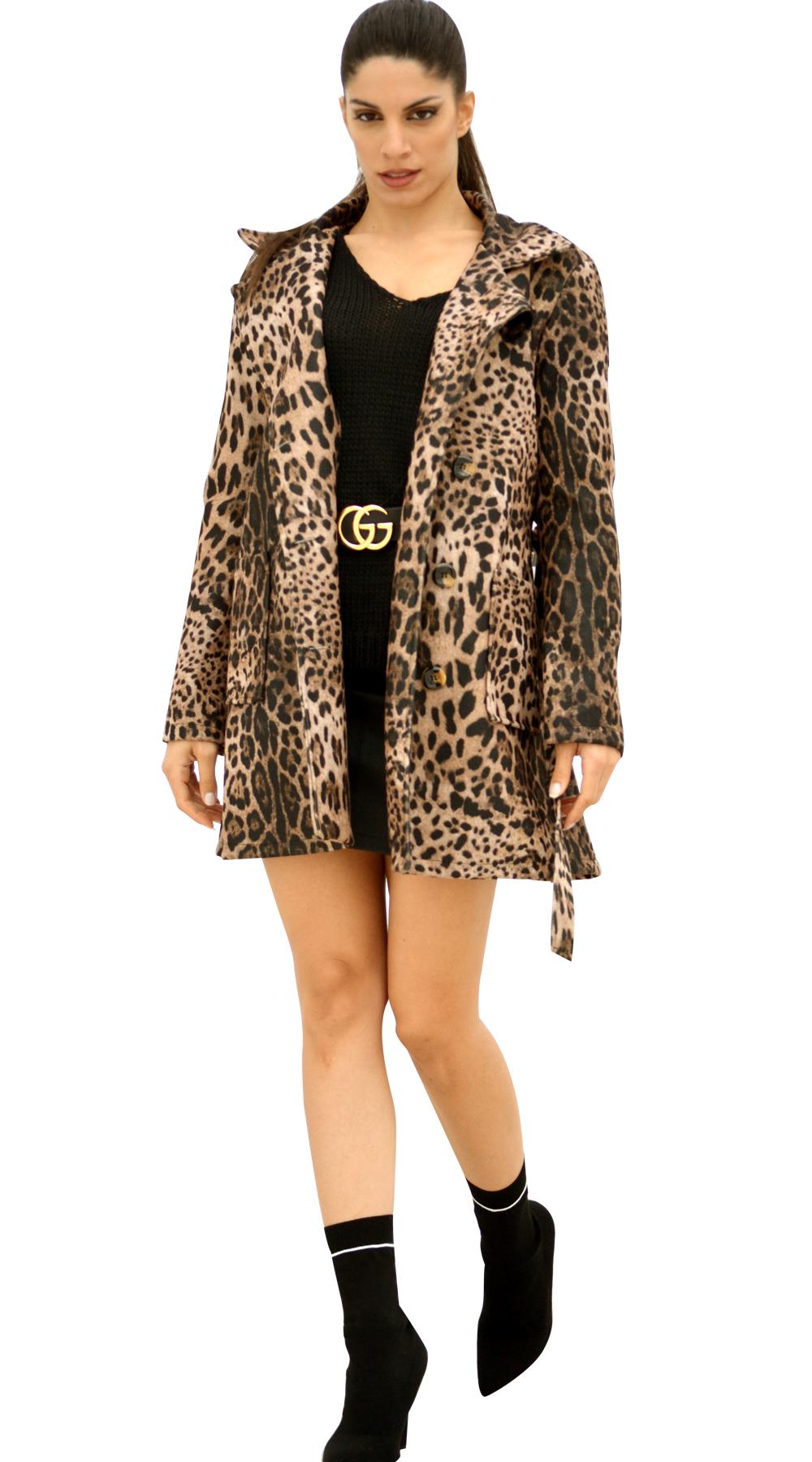 927cda6bea11 Καπαρτινέ Παλτό Leopard με κουμπιά και τσέπες