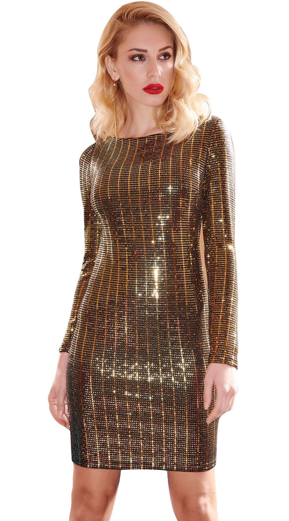 Sparkling Bodycon Φόρεμα με ανοιχτή πλάτη - LOVE ME - W18LV-5694983 glam occassions wedding shop