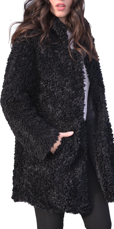 Μπουκλέ γούνινο παλτό με τσέπες  4a6efe9b2a1