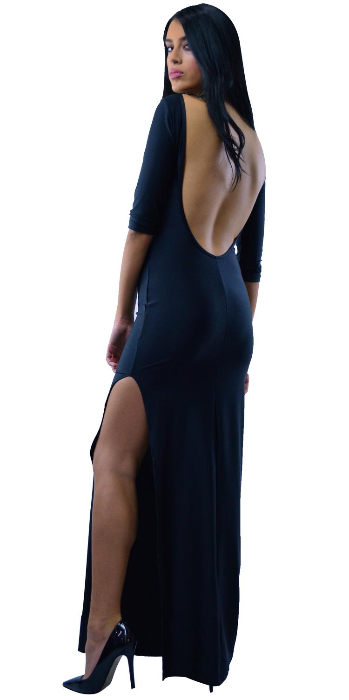 Μάξι φόρεμα με ανοιχτή πλάτη και σκίσιμο - OEM - W17SOF-53276 φορέματα μάξι φορέματα