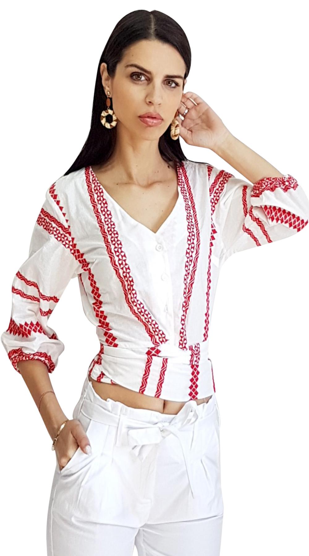 426cdde90723 Boho Μπλουζάκι με χρωματιστές λεπτομέρειες και δέσιμο στη πλάτη ONLINE