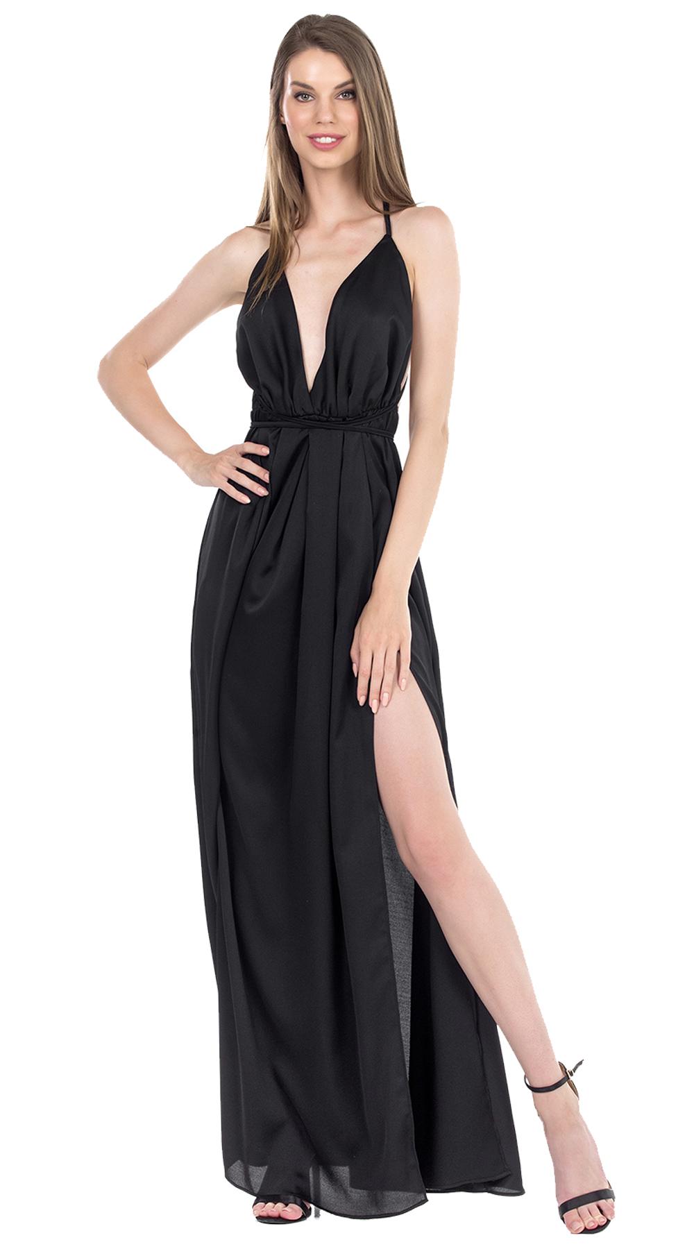 Μάξι Σατινέ Φόρεμα με πολυμορφικό δέσιμο ΙΟΛΗ ONLINE - ONLINE - SP19ON-58778