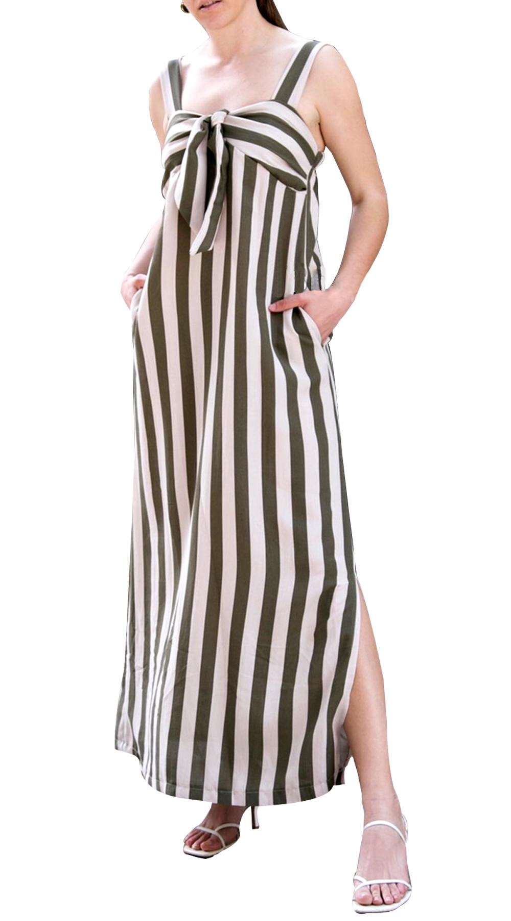 c951a837bf51 Μάξι Ριγέ Φόρεμα με τσέπες