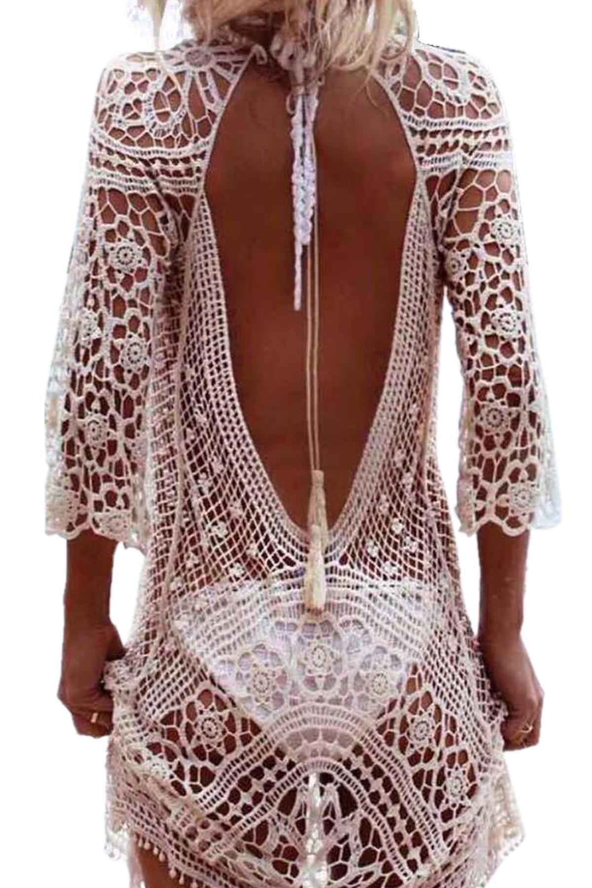 Γυναικείο croset καφτάνι με ανοιχτή πλάτη - OEM - SP17SOF-81141 top trends cut outs