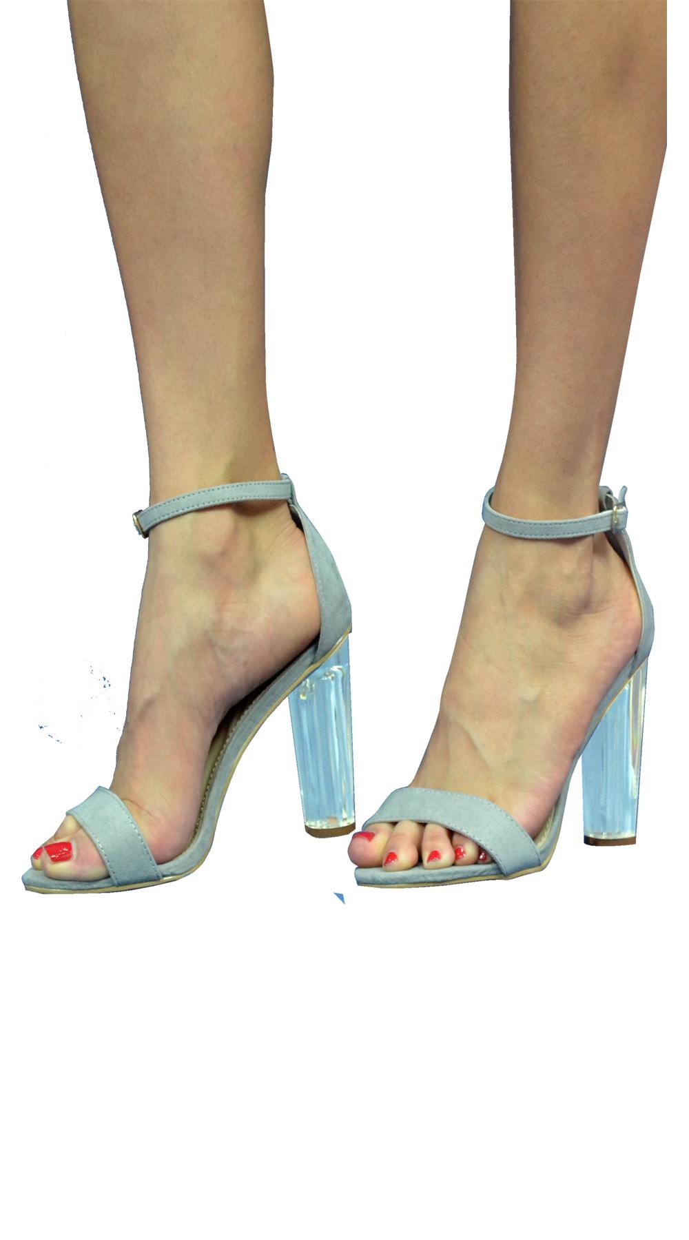 Σουέντ Πέδιλα με Διαφανές Τακούνι και λουράκι - MissReina - S17-66336 top trends bags   shoes missreina