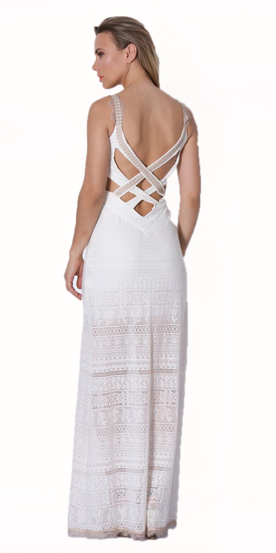Βραδυνό Μάξι φόρεμα με δαντέλα στο κάτω μέρος - OEM - S16LV-084WHT φορέματα μάξι φορέματα