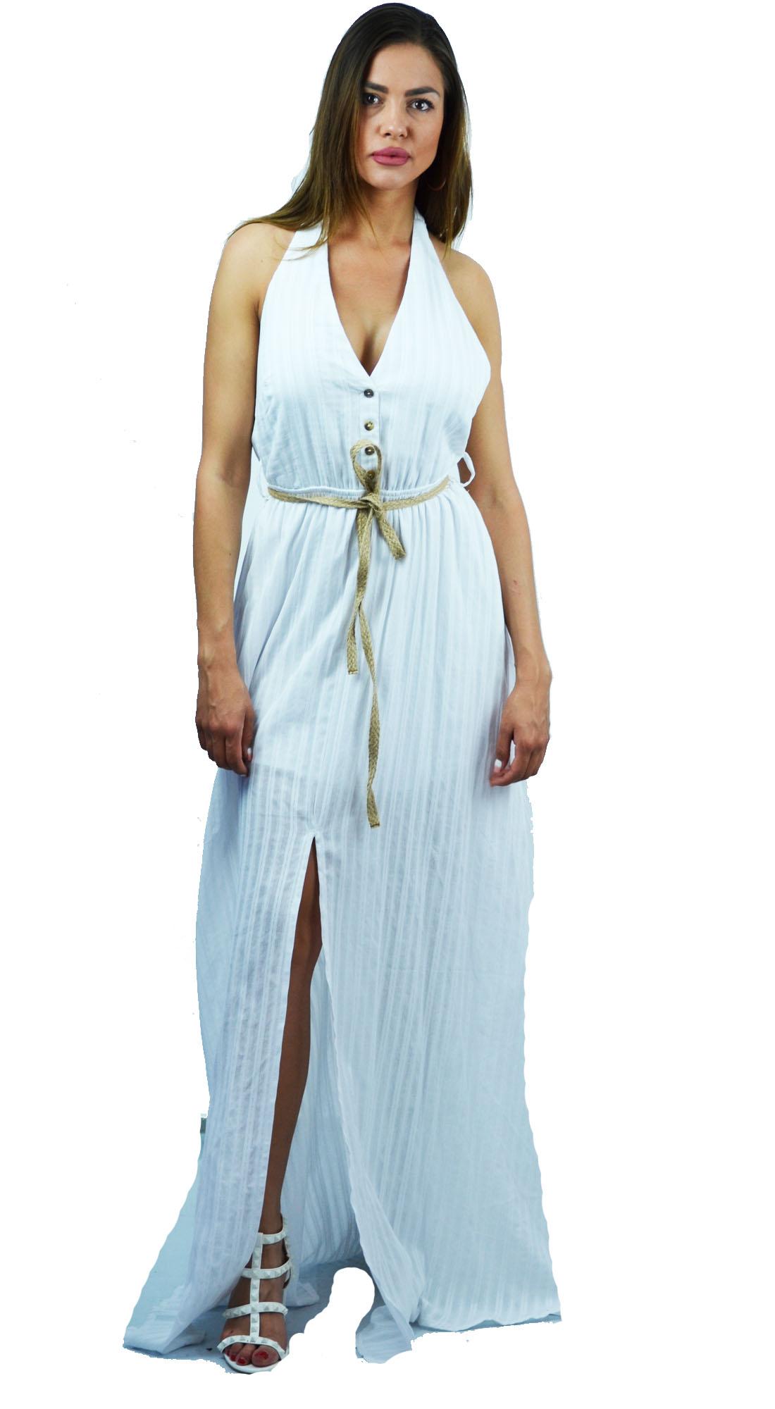 Μάξι Έθνικ Φόρεμα με ζώνη στην μέση και Λάστιχο στην Μέση - OEM - S17LV-5317372 glam occassions wedding shop