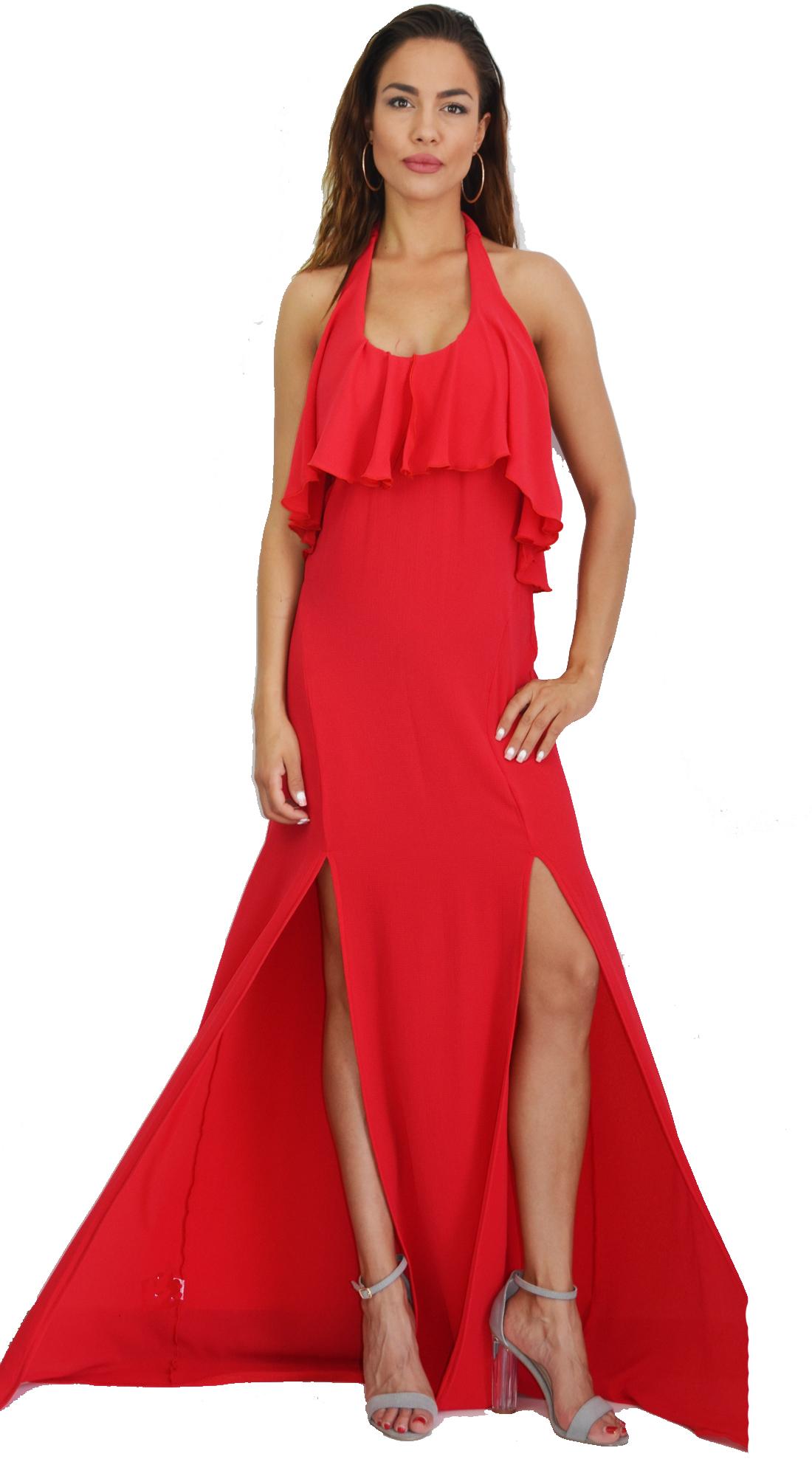 Μάξι Φόρεμα Red Passion με βολάν στο Μπούστο - OEM - S17LV-5317732400 glam occassions wedding shop