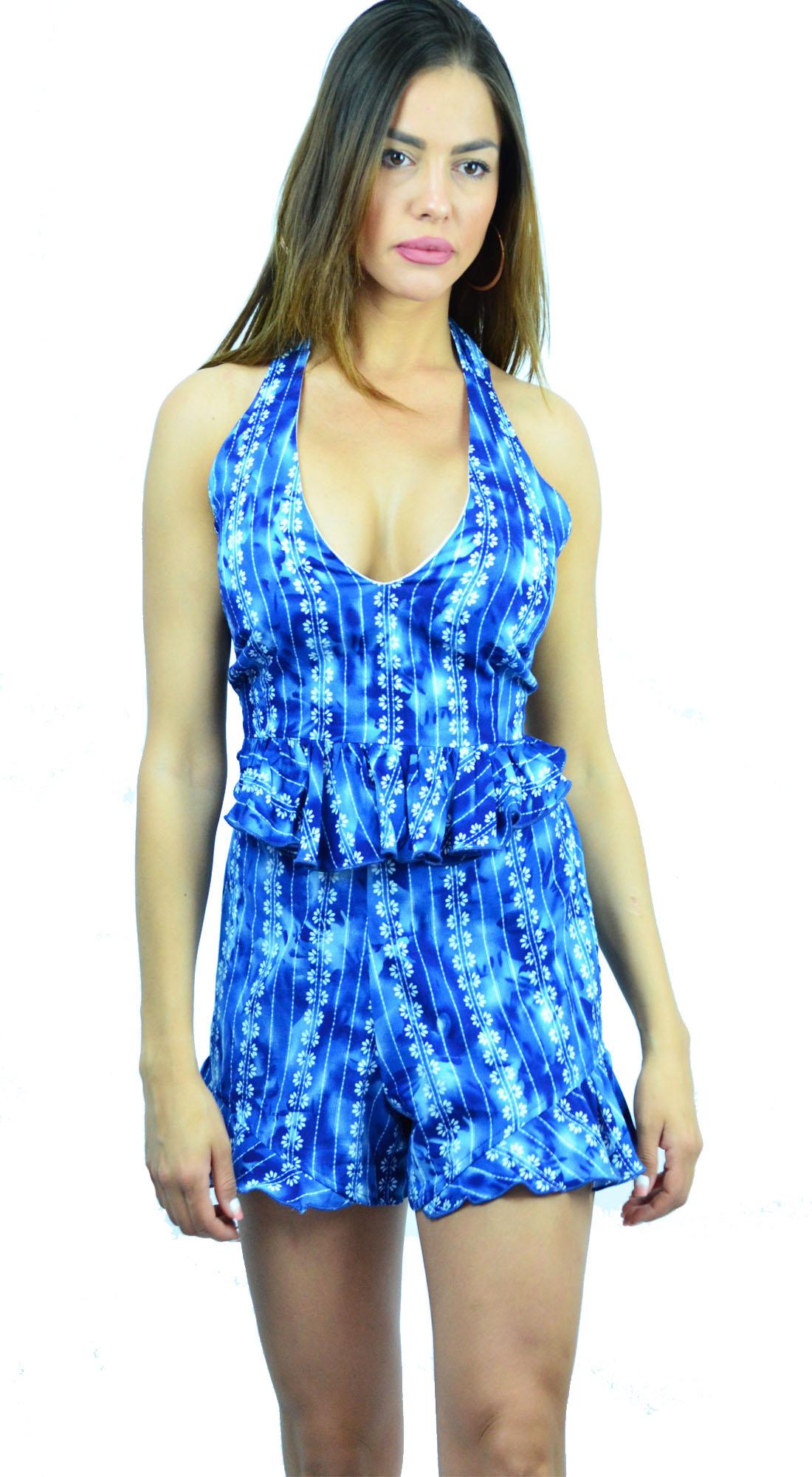Γυναικείο Σετ Top & Σορτς με Floral Prints - LOVE ME - S17LV-9317529 ενδύματα μπλούζες   t shirts