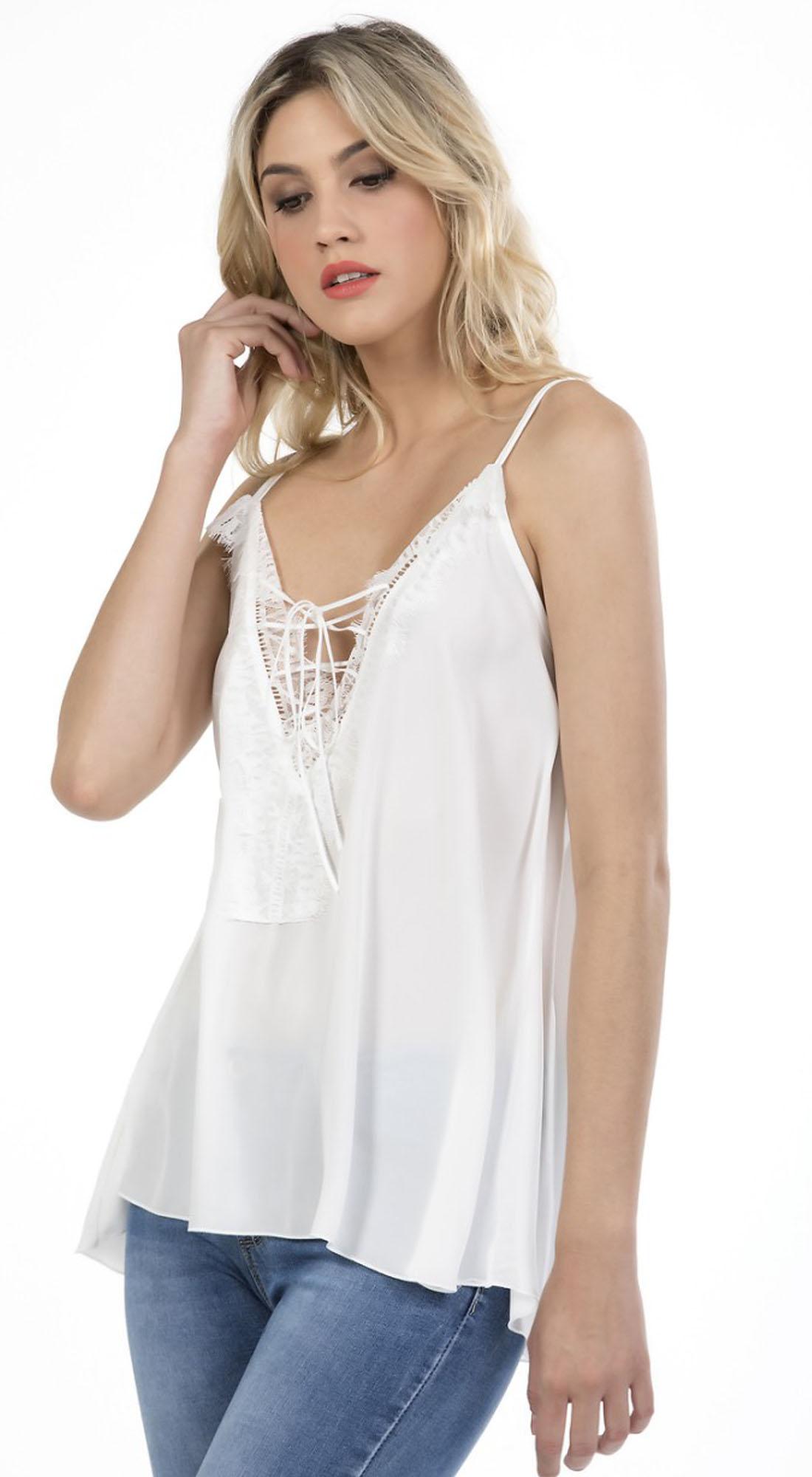 Γυναικείο Τοπ Τιραντάκι Online με Δαντέλα - OEM - S17ON-1716207 μπλούζες   t shirts elegant tops