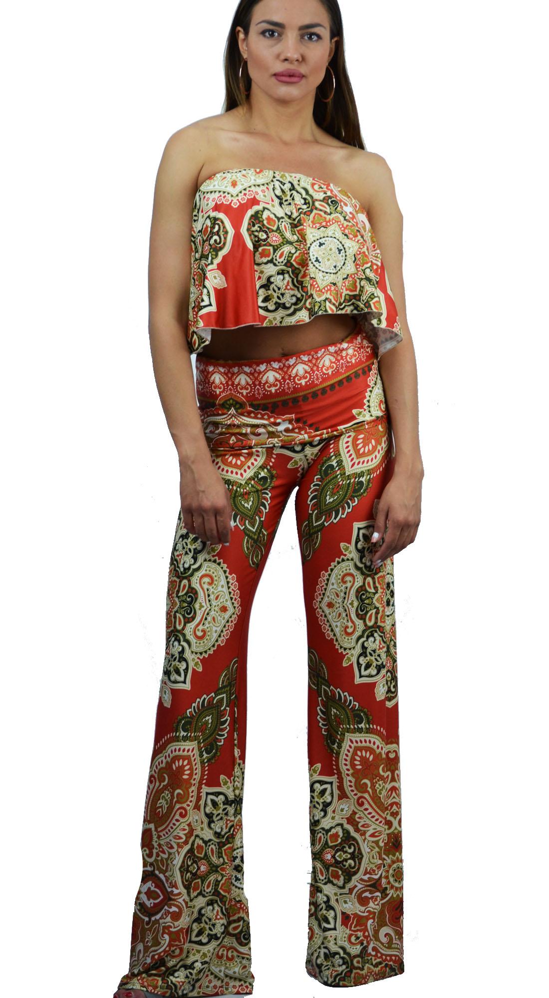 Γυναικείο Σετ Τοπ Online εμπριμέ με Paisley Prints & Παντελόνα - OEM - S17ON-530