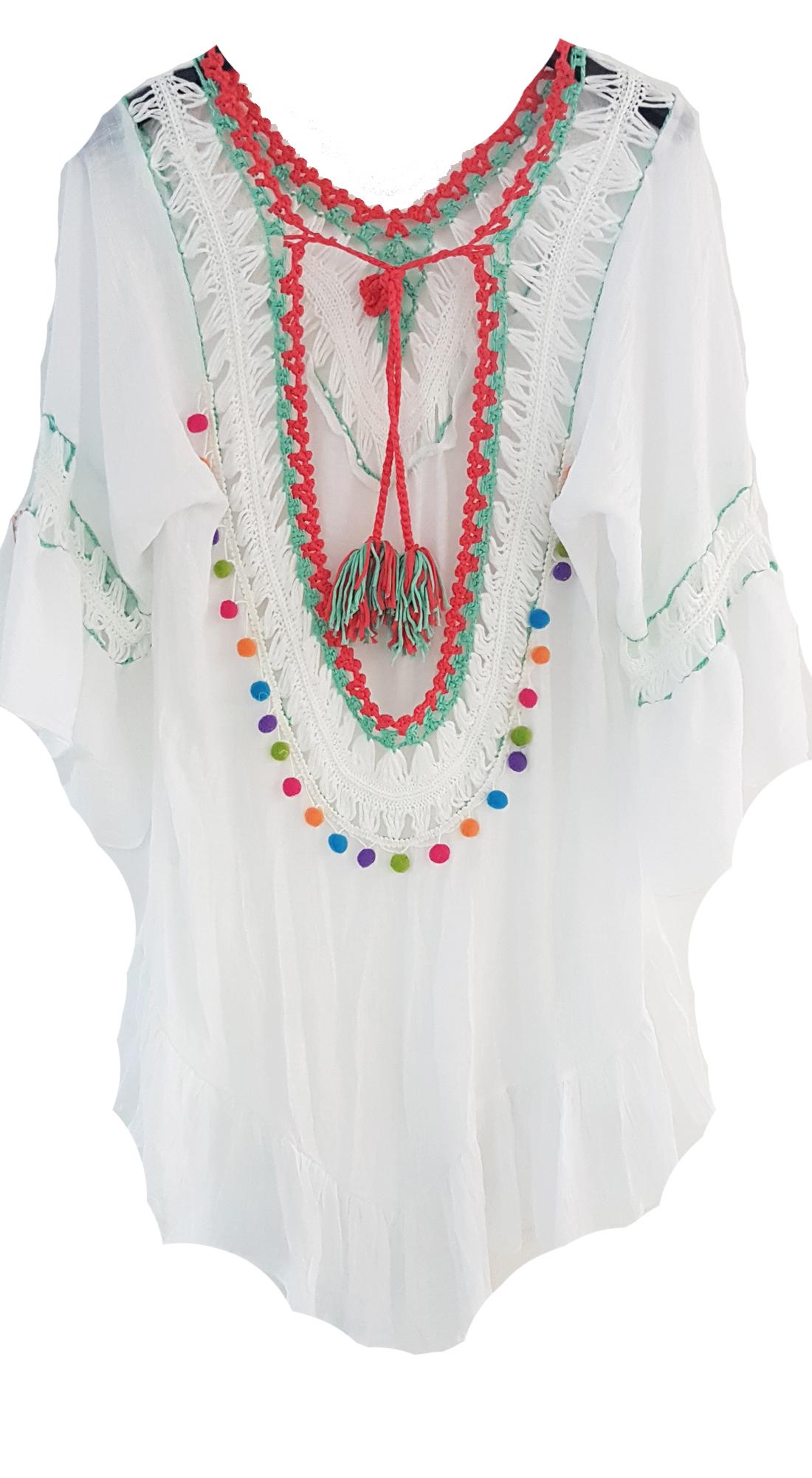 Γυναικείο Έθνικ Καφτάνι με Open Back και πολύχρωμα Pon Pon - OEM - S17SOF-103258 top trends cut outs