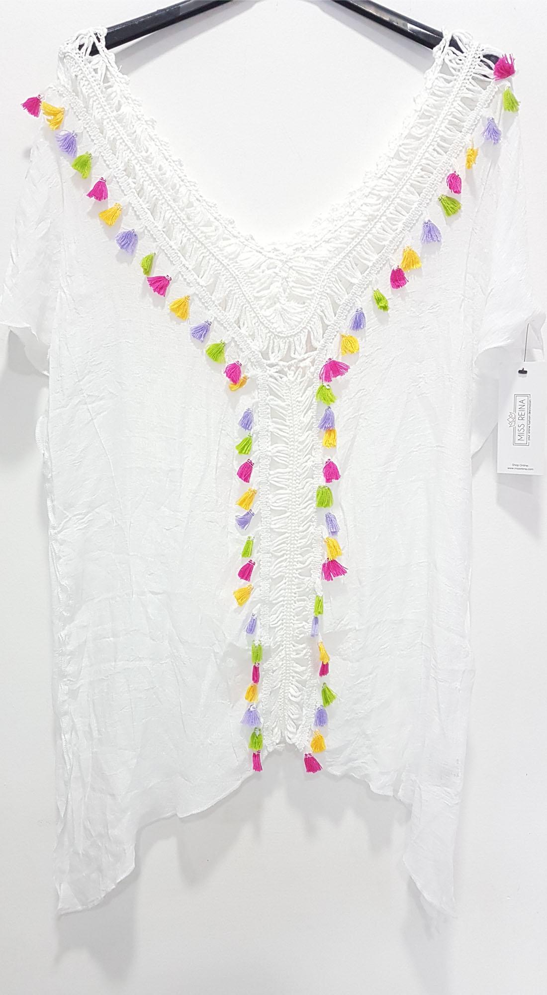 Γυναικειο Έθνικ Καφτάνι με Πολύχρωμα Pon Pon και Πλέξη - OEM - S17SOF-114258 top trends boho style