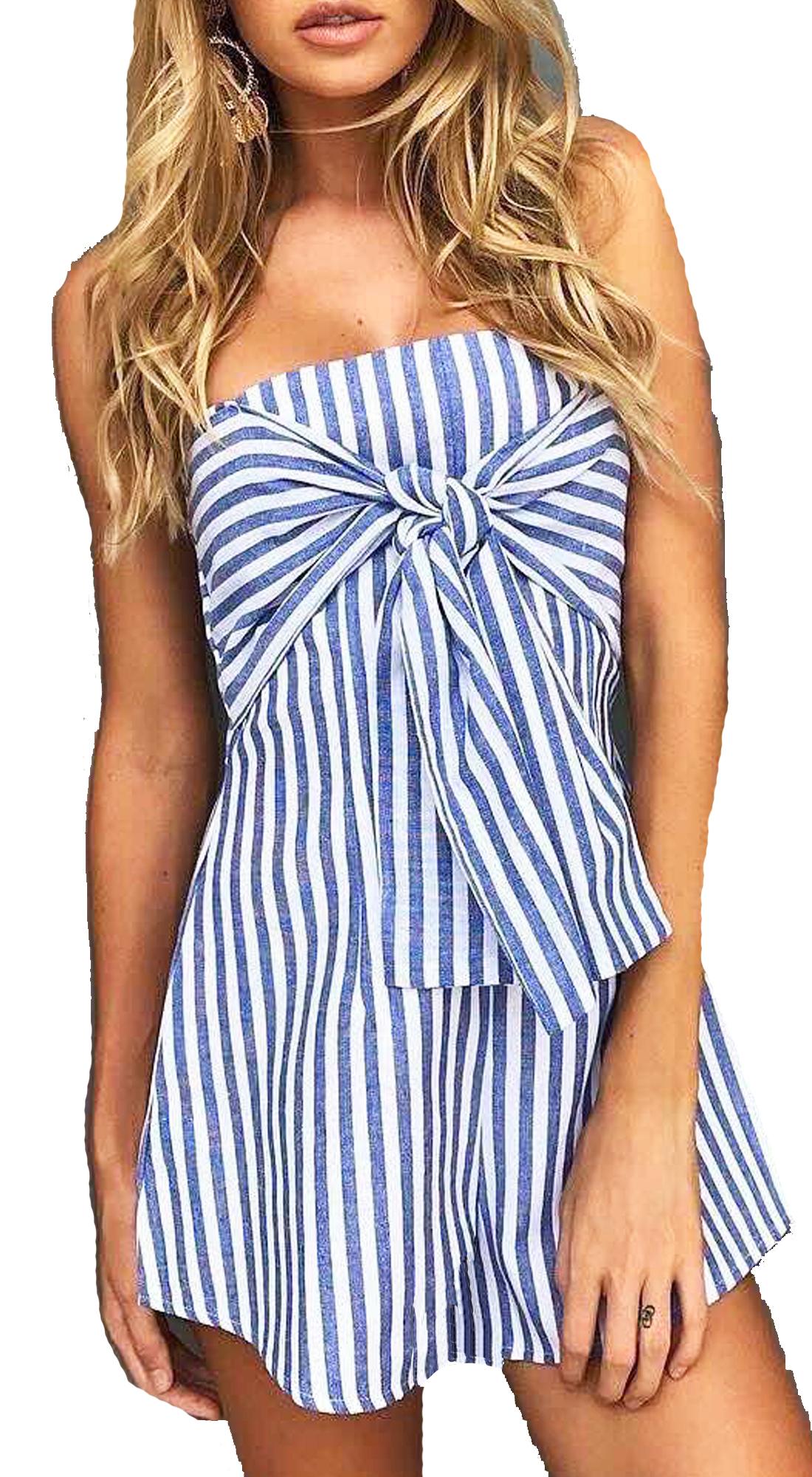 Γυναικείο Στράπλες Μίνι Φόρεμα με ρίγες Girly Chic - MissReina - S17SOF-344512 top trends basic shop