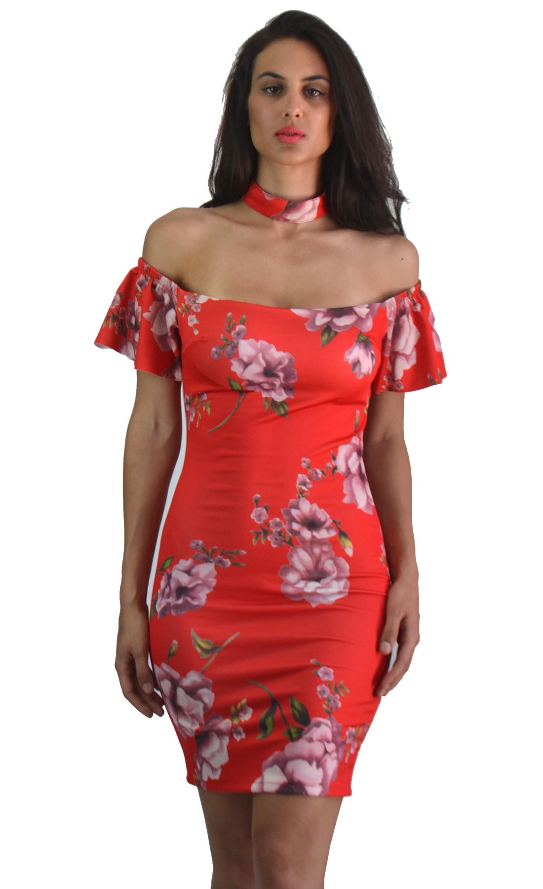 Κοκτέιλ bodycon φλοράλ φόρεμα - OEM - S17SOF-58322 φορέματα μίνι φορέματα