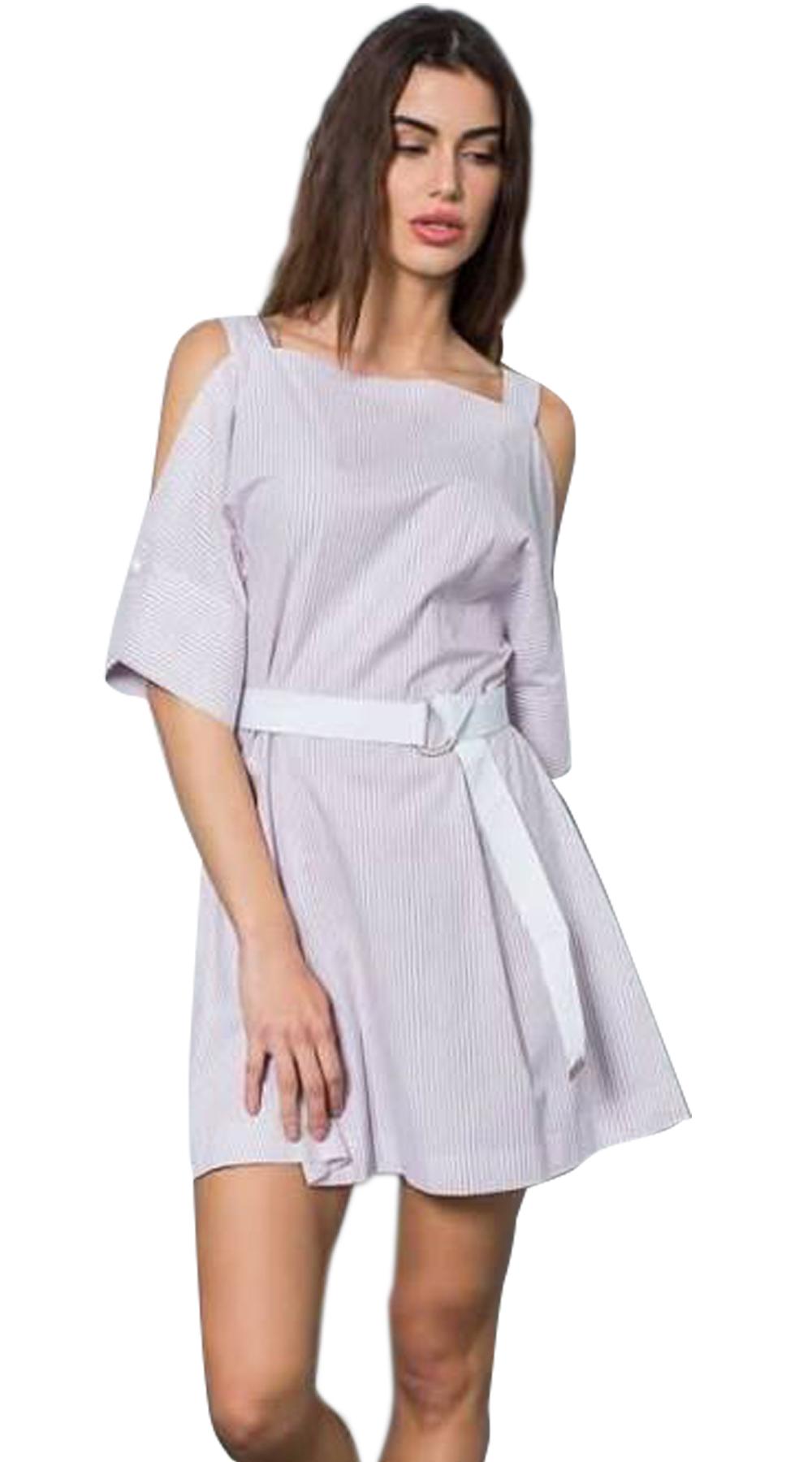 Μίνι ριγέ φόρεμα με μανίκια με cut outs και αθλητική ζώνη - Greek Brands - S18NA φορέματα μίνι φορέματα