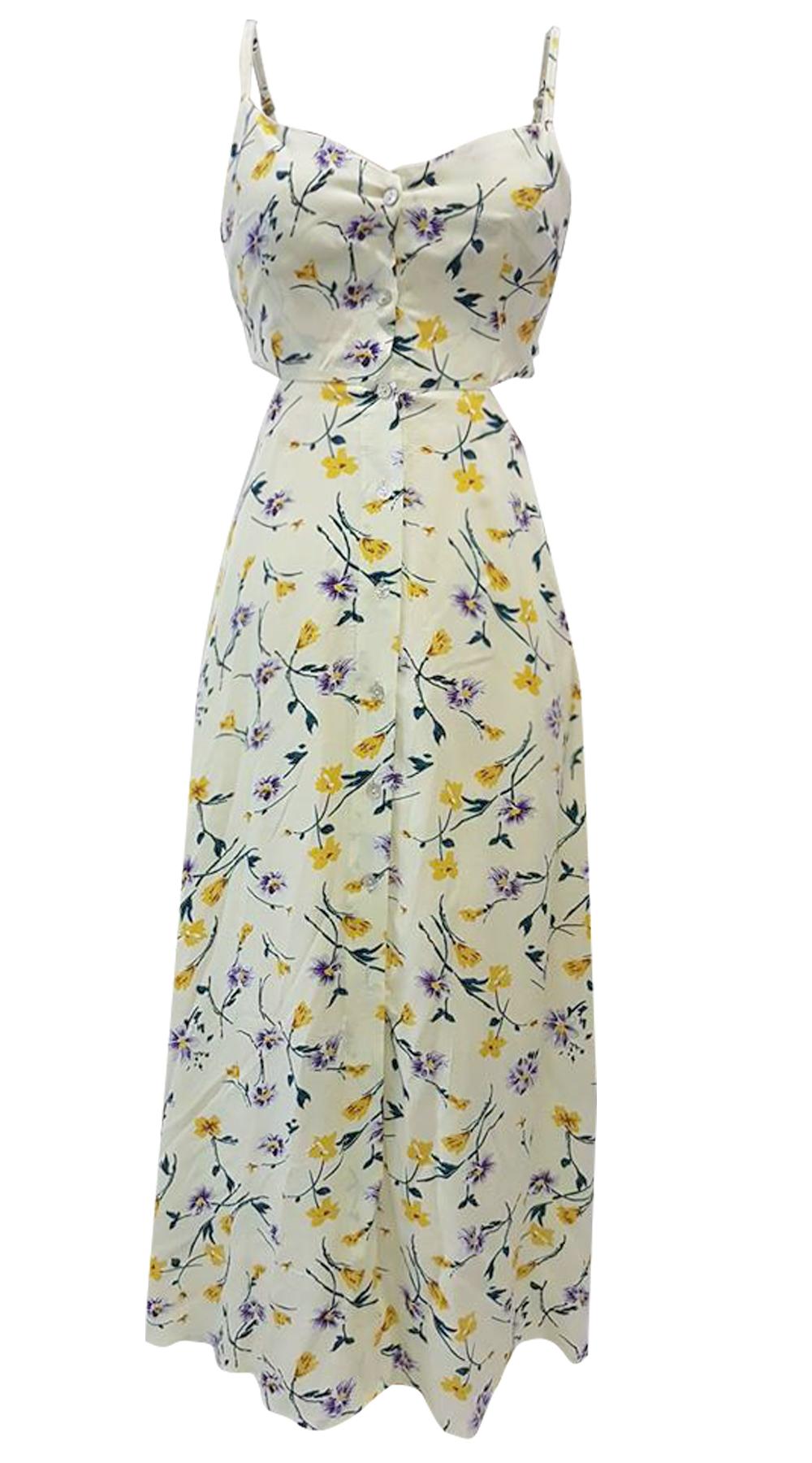 Μίντι φλοράλ φόρεμα με δέσιμο στην πλάτη - Greek Brands - S18ΝΑ-52445 φορέματα φλοράλ φορέματα