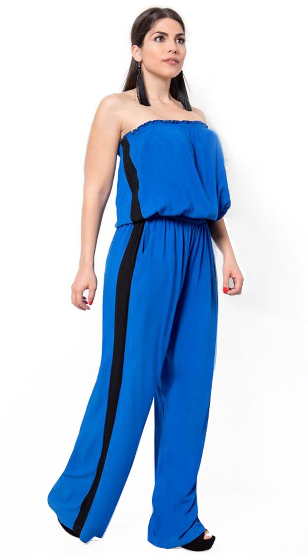 Στράπλες ολόσωμη φόρμα με αθλητική ρίγα στο πλάι - Greek Brands - S18CM-29009 top trends casual chic