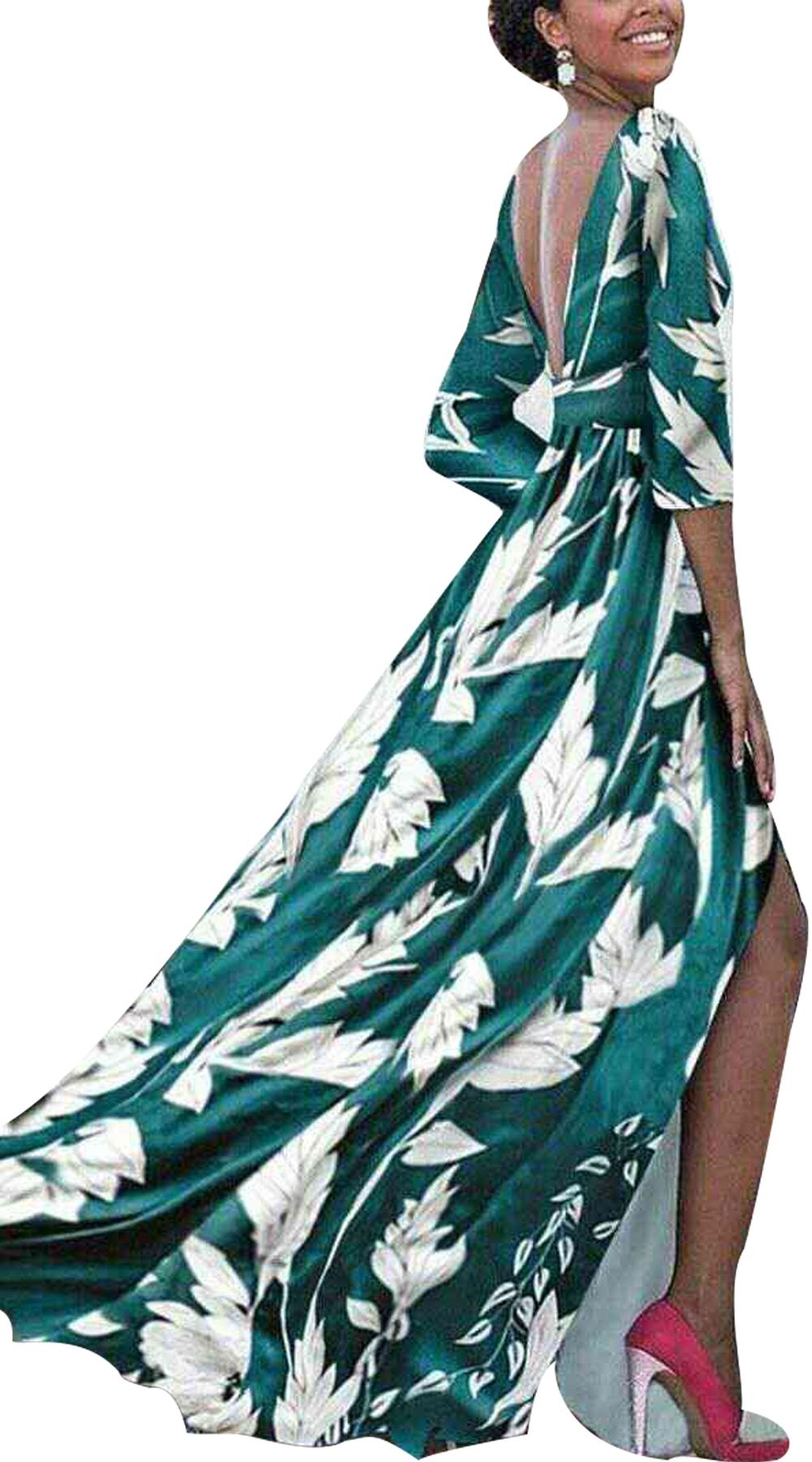 Maxi φόρεμα φλοράλ με V πλάτη - MissReina - S18GAL-53380 φορέματα βραδυνά φορέματα