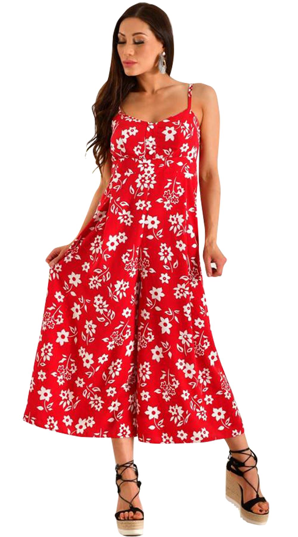 Girly φλοράλ ολόσωμη φόρμα με ζιπ κιλότ τελείωμα - LOVE ME - S18LV-280390 top trends φλοράλ